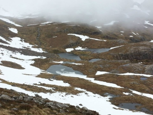 Looking down on 3 small Lochans